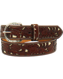 Nocona Men's Tooled Floral Overlay Western Belt , , hi-res