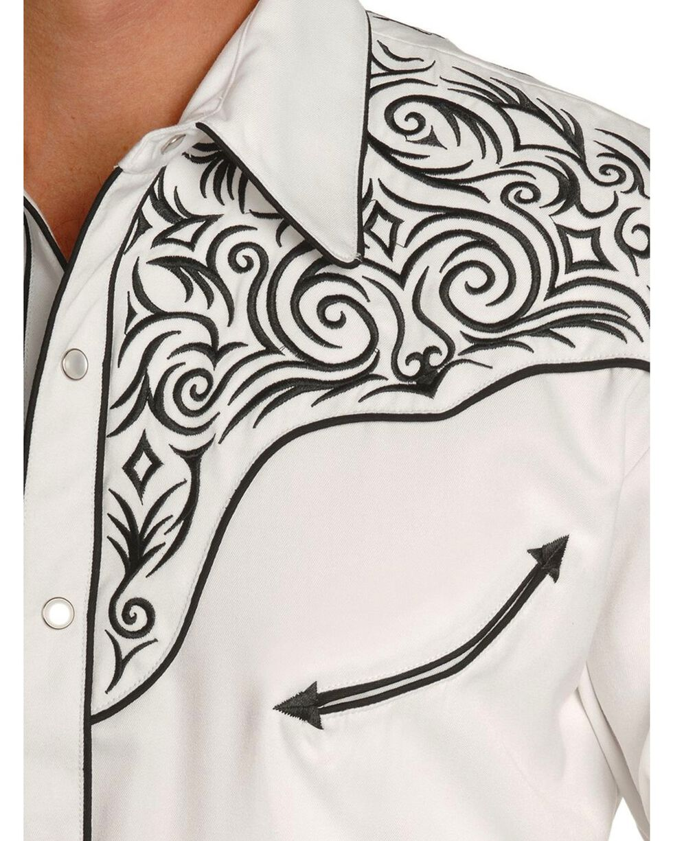 Scully Fancy Full Stitched Retro Western Shirt, White, hi-res