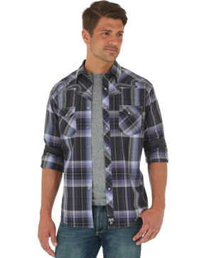 Wrangler Men's Rock 47 Plaid Long Sleeve Shirt , Purple, hi-res