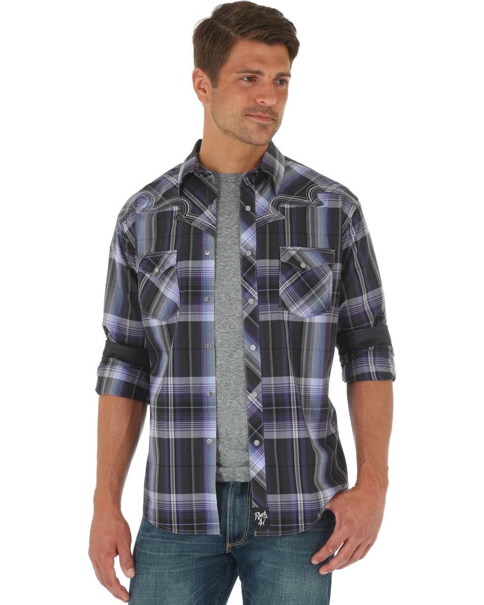 Wrangler Men's Rock 47 Plaid Long Sleeve Shirt , Purple, hi-res