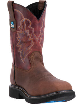 "McRae Men's 11"" Non-Metallic Electrical Hazard Pull On Work Boot - Composite Toe, Brown, hi-res"