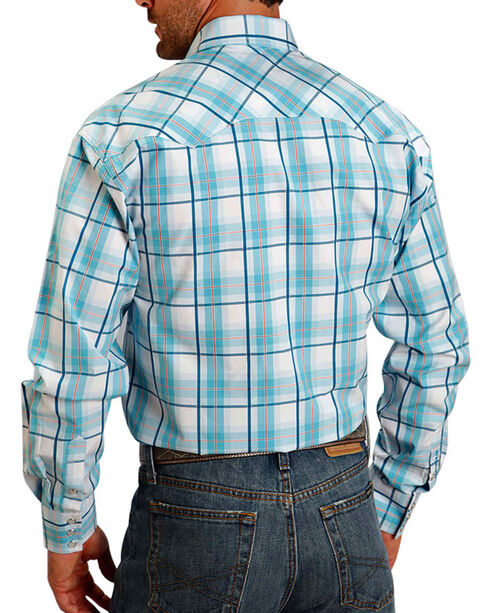 Stetson Men's Plaid Pattern Long Sleeve Shirt , Turquoise, hi-res