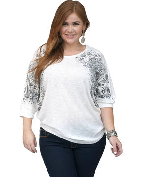 Petrol Women's Aztec Shoulder Dolman Top - Plus Size, Ivory, hi-res