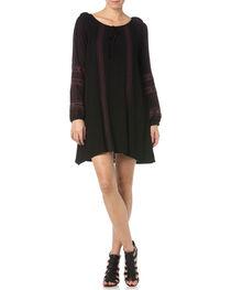 Miss Me Black Embroidered Peasant Dress, , hi-res