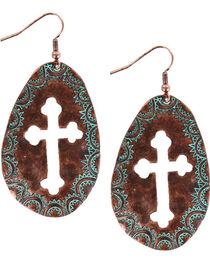 Shyanne® Women's Oval Cross Cutout Dangling Earrings , , hi-res