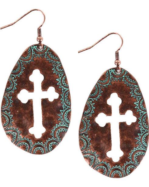 Shyanne® Women's Oval Cross Cutout Dangling Earrings , Turquoise, hi-res