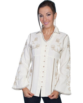 Scully Floral Embroidered Top, Cream, hi-res