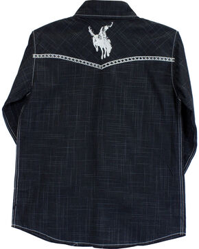 Cowboy Hardware Boys' Bucking Horse Burlap Print Long Sleeve Shirt, Black, hi-res