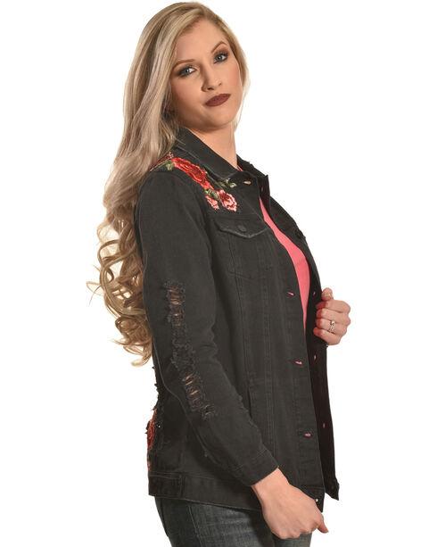 Boom Boom Jeans Women's Black Destructed Floral Denim Jacket , Black, hi-res