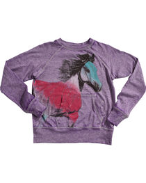 Rock & Roll Cowgirl Girls' Sparkle Horse Popover Top, , hi-res