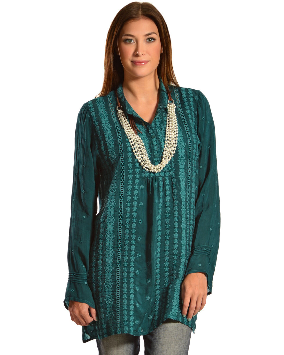Johnny Was Women's Lacy Trim Blouse, Emerald, hi-res