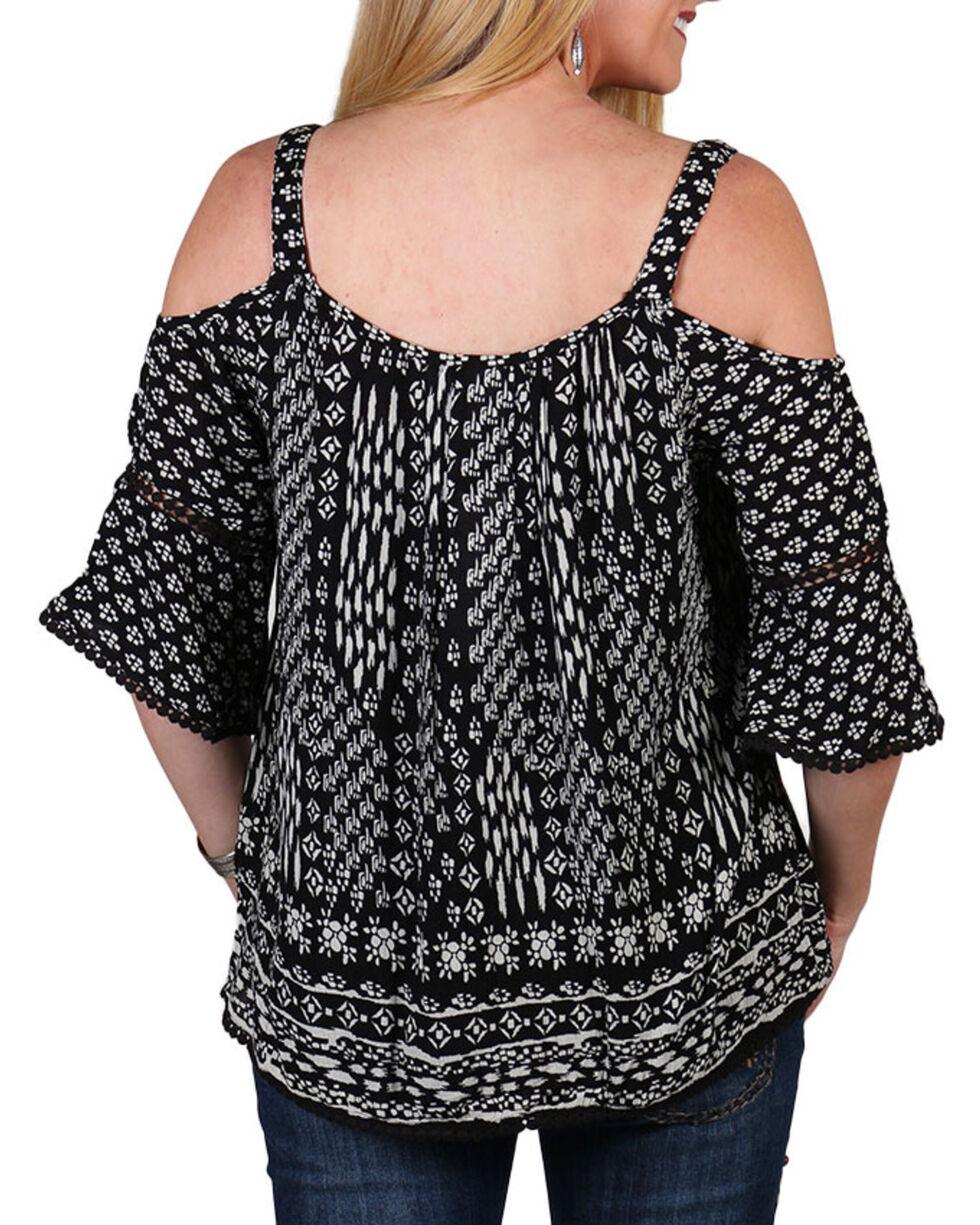 Bila Women's Pattern Cold Shoulder , Black, hi-res