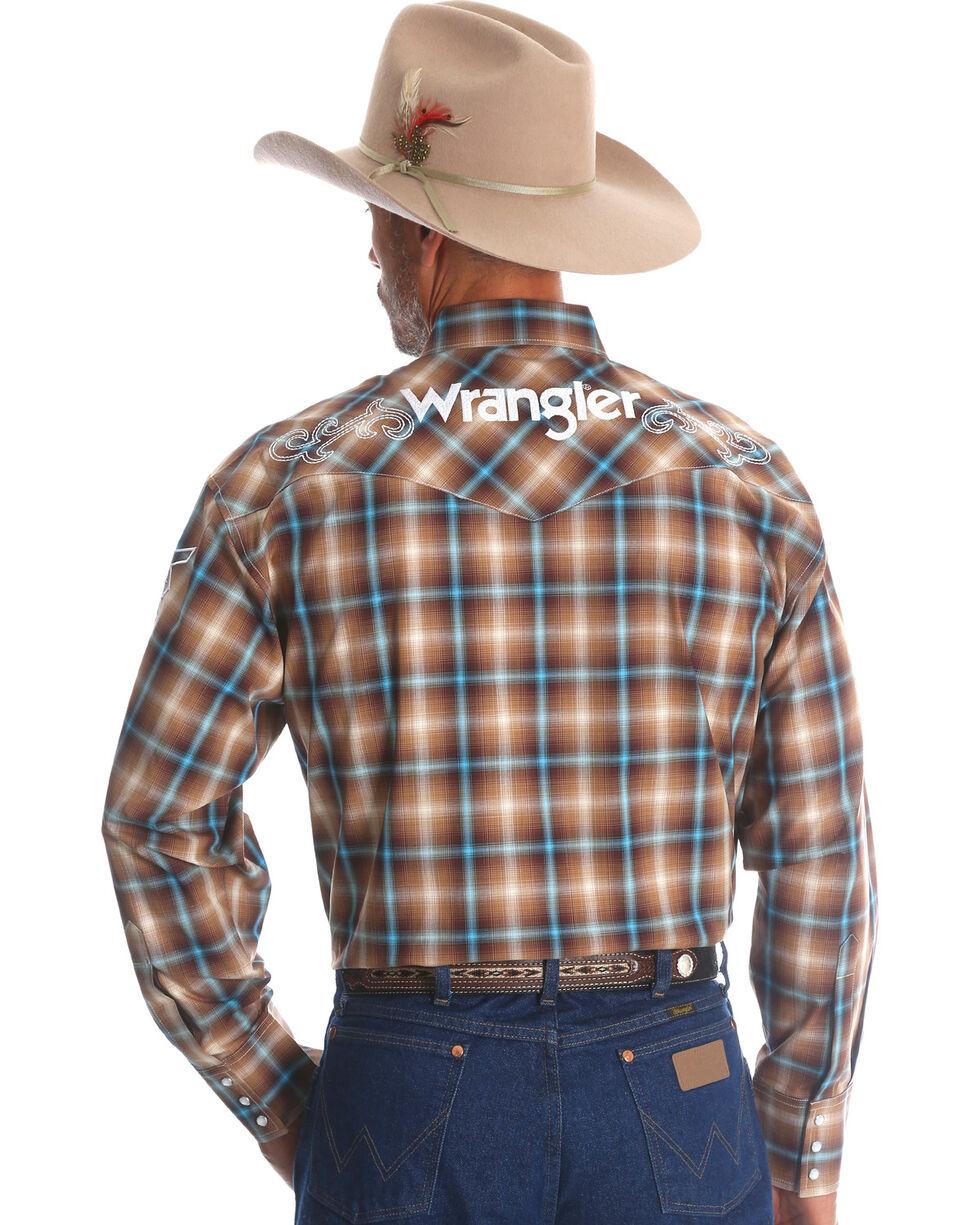 Wrangler Men's Plaid Logo Long Sleeve Shirt - Tall, Brown, hi-res