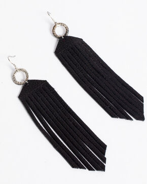 Jewelry Junkie Women's Black Leather Fringe Earrings , Black, hi-res
