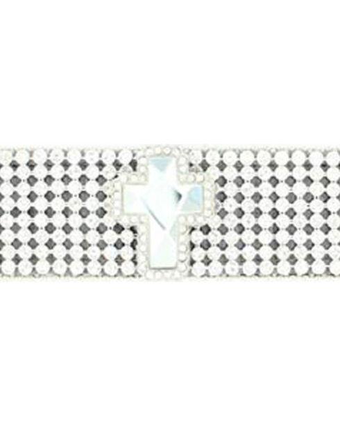 M&F Women's Cross and Rhinestone Belt Bracelet, Silver, hi-res