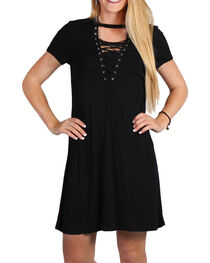 Luna Chix Women's Black Lace-Up Dress, , hi-res