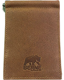 Berne Men's Tan Genuine Leather Money Clip Wallet , , hi-res