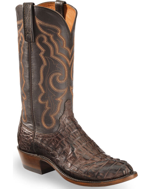 Lucchese Men's Dark Brown Franklin Hornback Caiman Tail Boots - Round Toe , Dark Brown, hi-res