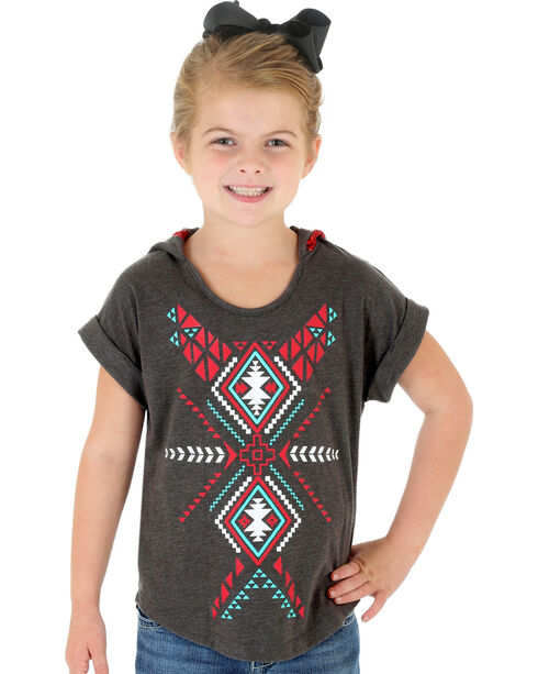 Wrangler Rock 47 Girls' Hooded Aztec Print Tee, Grey, hi-res