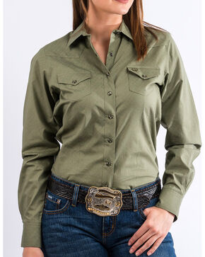 Cinch Women's Olive Western Snap Down Shirt , Olive, hi-res