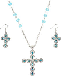 Shyanne® Women's Turquoise Cross Rhinestones Jewelry Set, , hi-res