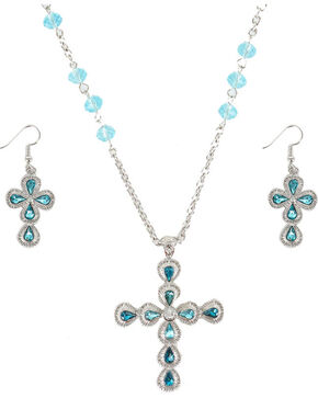 Shyanne® Women's Turquoise Cross Rhinestones Jewelry Set, Silver, hi-res