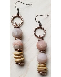 Jewelry Junkie Women's Frosted Sunstone and Wood Earrings , , hi-res