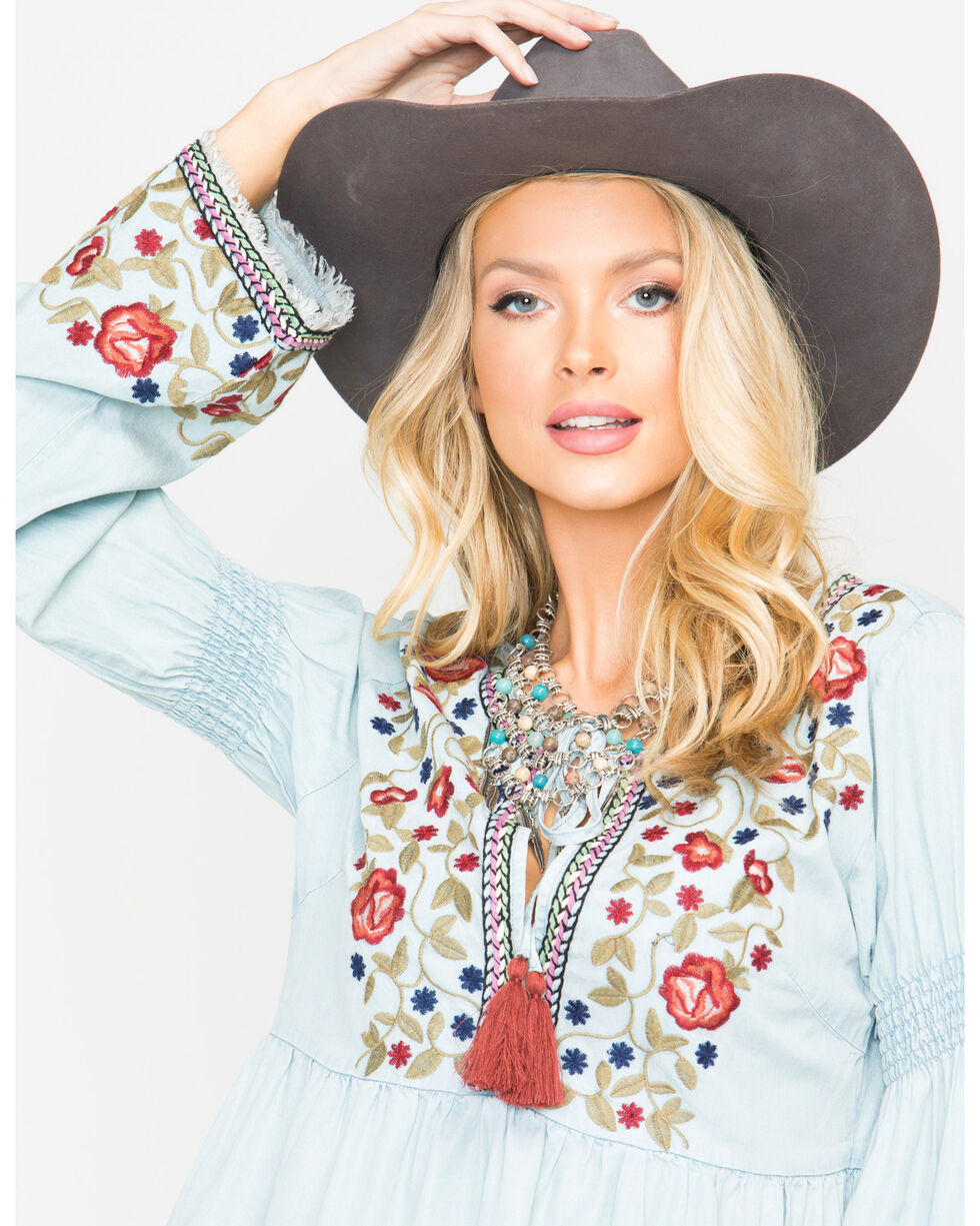 Miss Me Women's Freshly Picked Floral Top , Indigo, hi-res