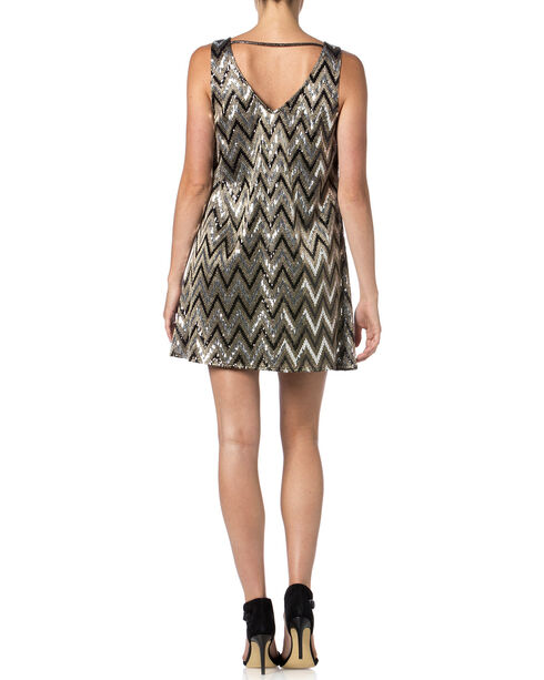 Miss Me Silver and Black Zig-Zag Sequin Dress , Black, hi-res