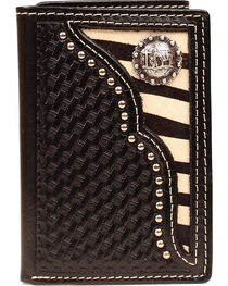 Nocona Zebra Print Hair-on Hide Inlay w/ Cowboy Prayer Concho Tri-fold Wallet, , hi-res