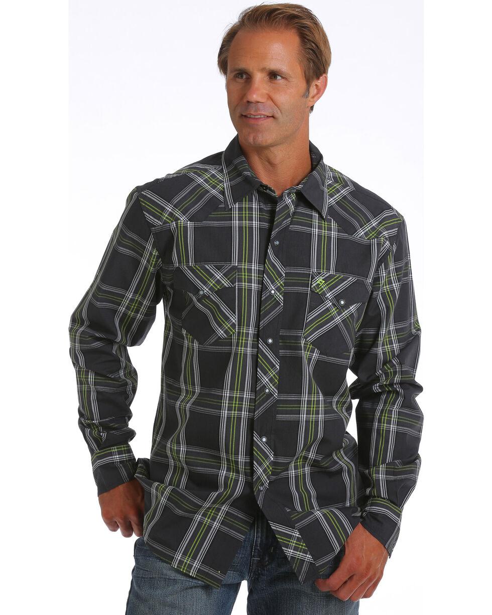 Garth Brooks Sevens by Cinch Men's Black Plaid Print Western Shirt, Black, hi-res