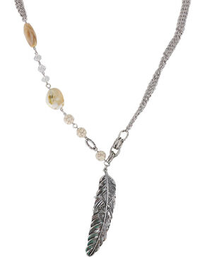 Shyanne® Women's Large Feather and Stones Necklace, Cream, hi-res
