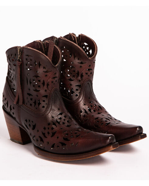 Corral Women's Floral Cutout  Western Booties, Wine, hi-res
