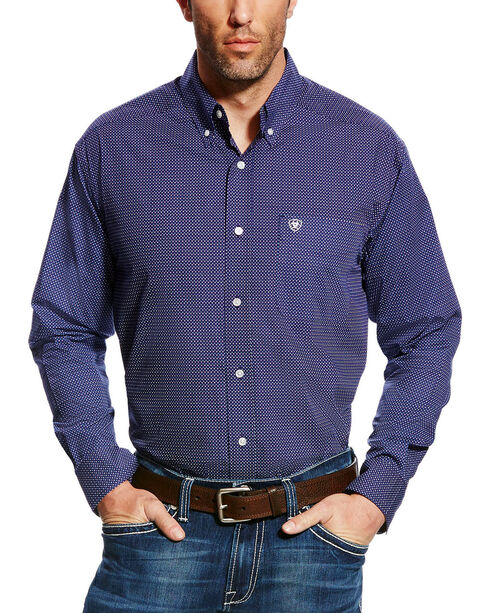 Ariat Men's Elliot Print Button Down Shirt - Big & Tall, Blue, hi-res
