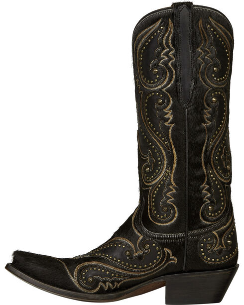 Lucchese Black Lyla Calf Hair Cowgirl Boots - Snip Toe , Black, hi-res
