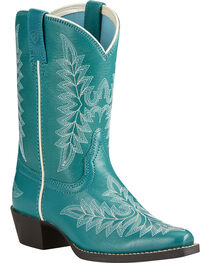 Ariat Youth Girl's Turquoise Brooklyn Boots - Snip Toe, , hi-res
