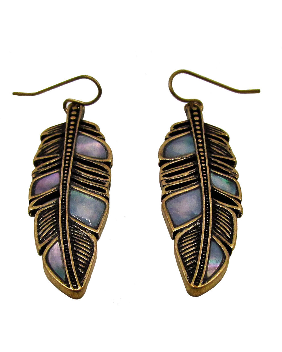 Silver Jeans Women's Genuine White Mother of Pearl Linear Feather Earrings, Gold, hi-res