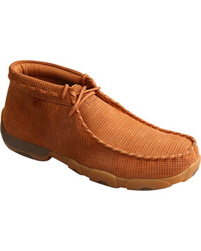 Twisted X Men's Saddle Tan Lace Up Driving Mocs - Moc Toe, Tan, hi-res