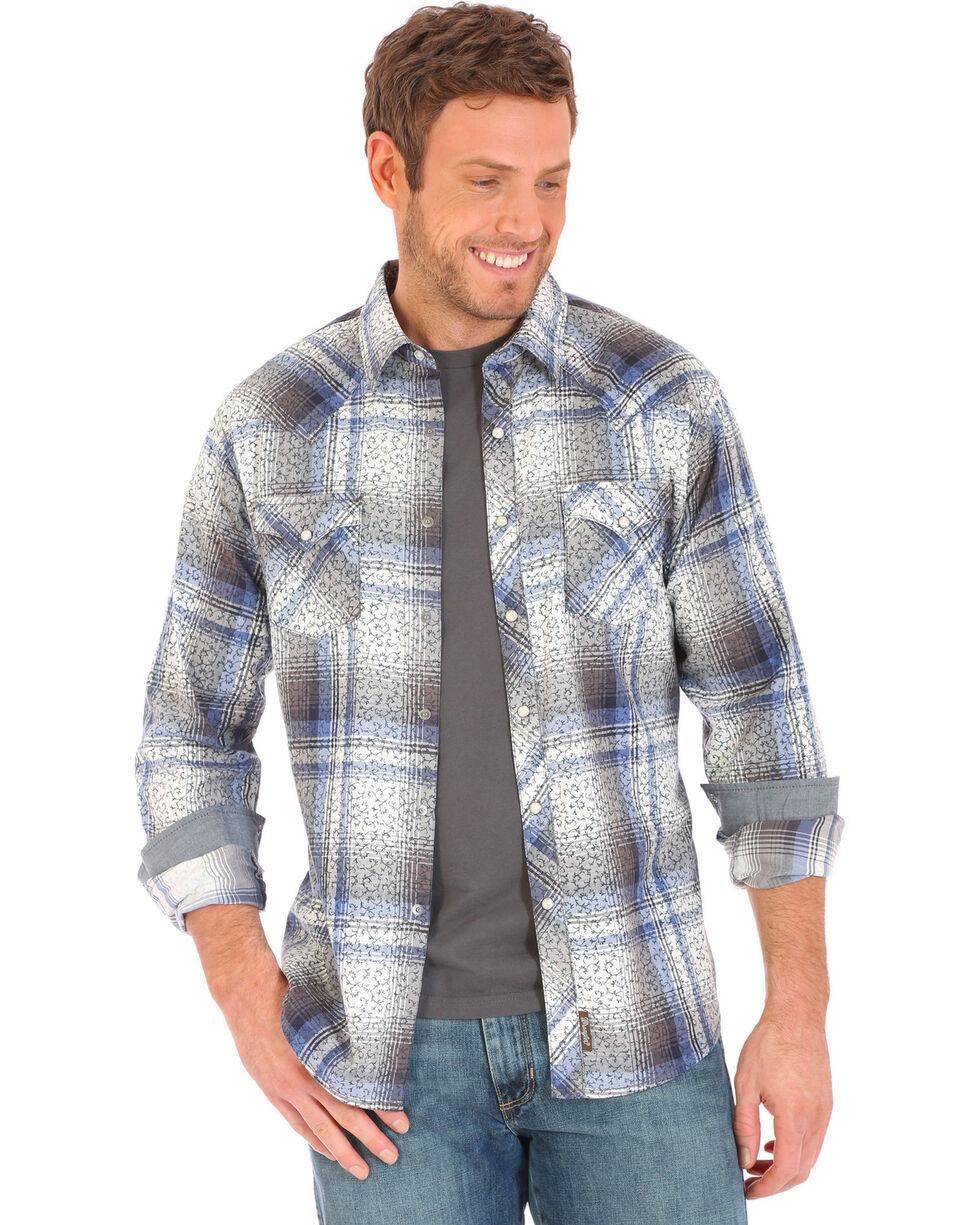 Wrangler Retro Men's Vine Plaid Printed Long Sleeve Shirt, Blue, hi-res