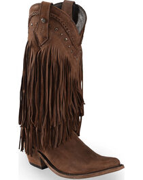 Liberty Black Vegas Fringe Boots - Pointed Toe, , hi-res