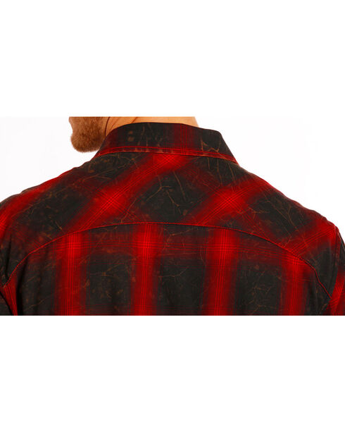 Rock and Roll Cowboy Men's Distressed Plaid Long Sleeve Shirt, Red, hi-res