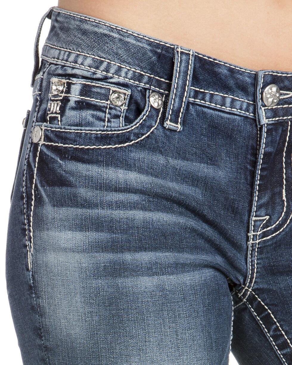 Miss Me Women's Medallion Pocket Boot Cut Jeans , Indigo, hi-res