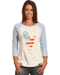 Shyanne® Women's Eagle Americana Long Sleeve Baseball Tee, White, hi-res