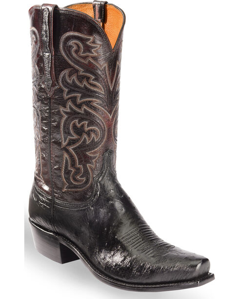 Lucchese Men's Black Nathan Smooth Ostrich Western Boots - Snip Toe , Black, hi-res