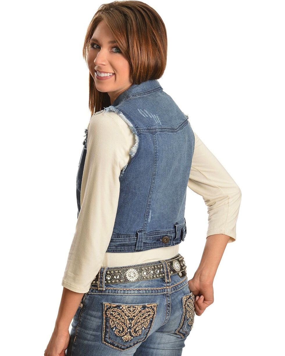 Frayed Edge Denim Vest, Denim, hi-res