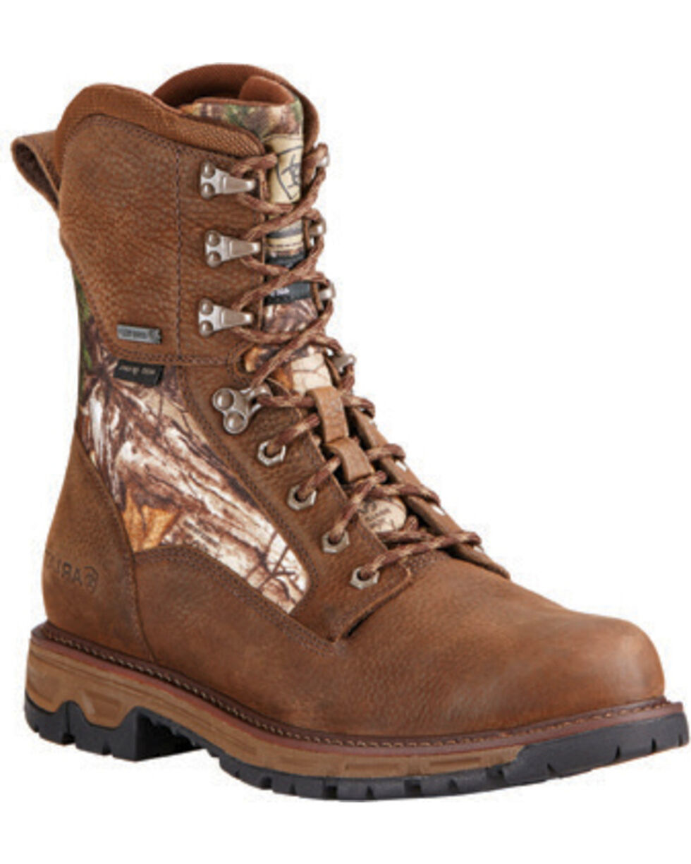 Ariat Men's Insulated Conquest Waterproof Camo Hunting Boots, Brown, hi-res