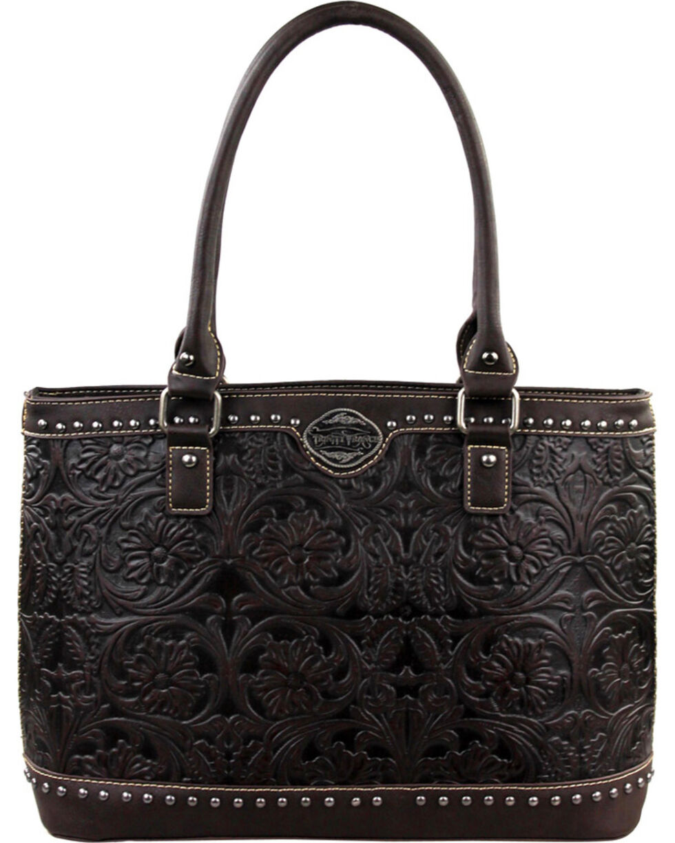 Montana West Trinity Ranch Coffee Tooled Design Handbag, Brown, hi-res
