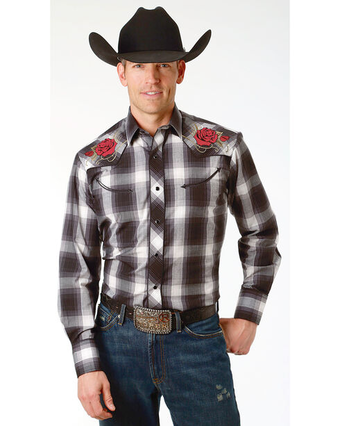Roper Men's Plaid Embroidered Long Sleeve Western Snap Shirt - Big , Black, hi-res