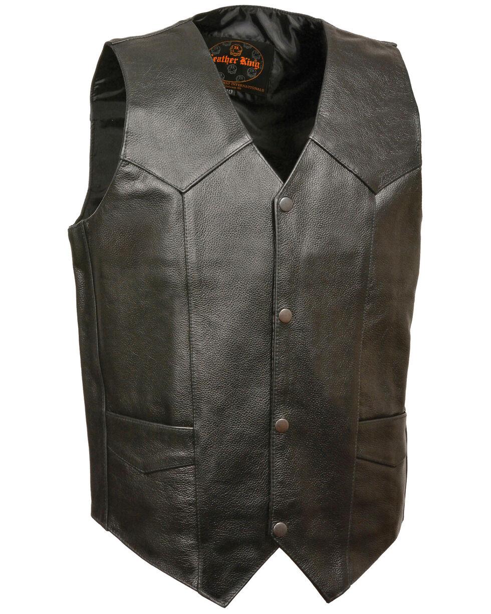 Milwaukee Leather Men's Black Snap Front Biker Vest - Extra Big, Black, hi-res