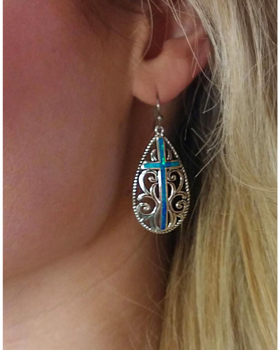 Montana Silversmiths Women's Filigree Water Lights Cross Earrings , Silver, hi-res